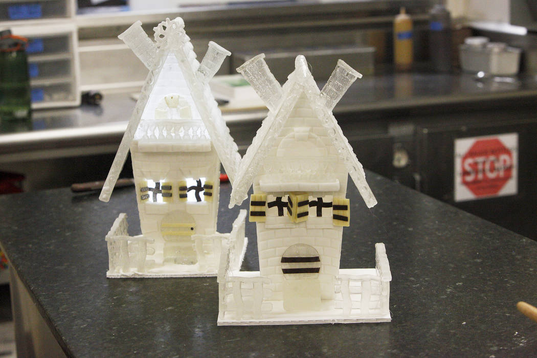Finished houses made of sugar, fondant and chocolate at the Four Seasons in Las Vegas, Tuesday, Nov. 14, 2017. They will be a part of a winter village.  Rachel Aston Las Vegas Review-Journal @rook ...