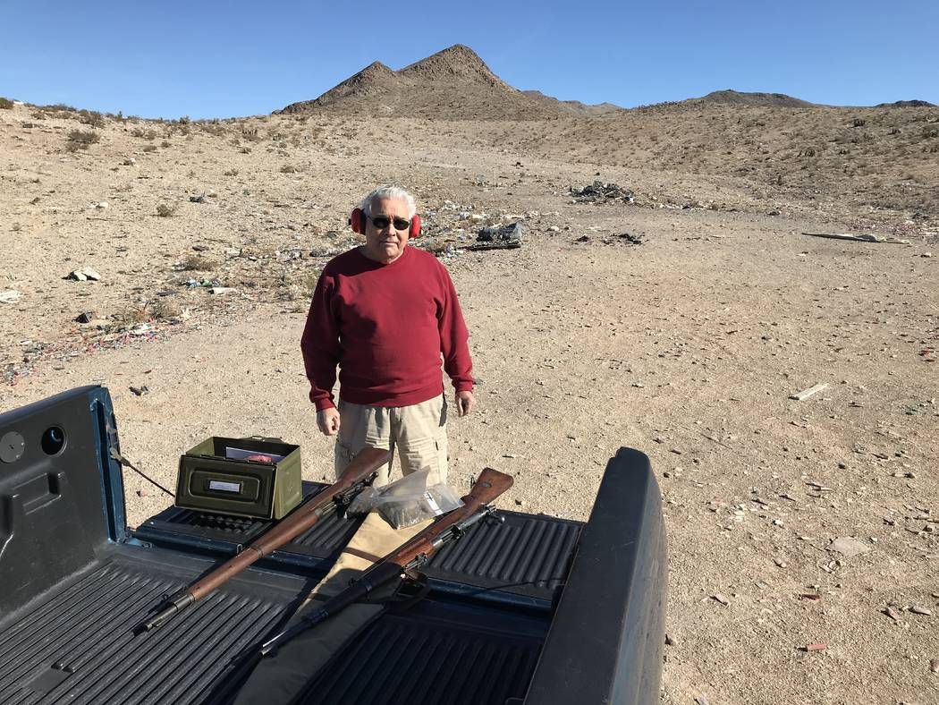 Las Vegas resident John Hoge with his rifles after taking target practice at a popular shooting area off South Las Vegas Boulevard Tuesday, Nov. 27, 2017. Hoge was one of the few people who was fo ...
