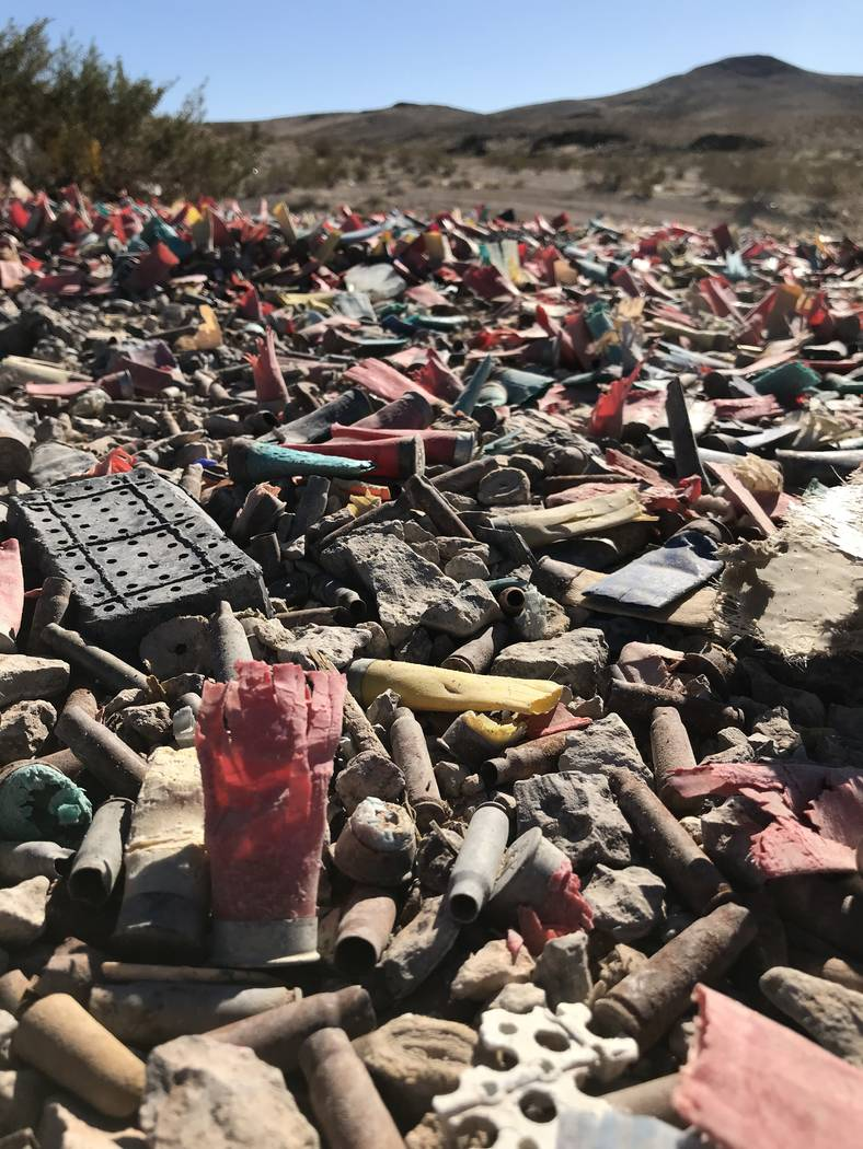 Spent shotgun shells and bullet casings litter the ground, Tuesday, Nov. 27, 2017, in a desert area off South Las Vegas Boulevard that has been trashed by decades of target shooting. Henry Brean L ...