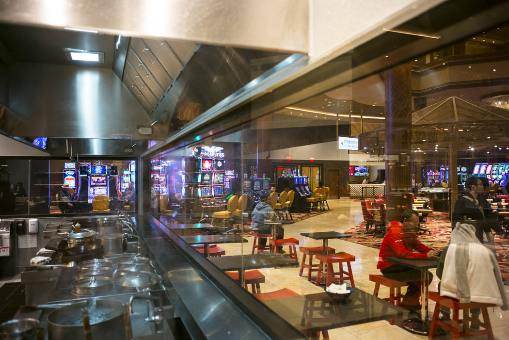 An open view kitchen area looks out to the casino floor during the 1-year anniversary of the Lucky Dragon in Las Vegas on Sunday, Dec. 3, 2017. Chase Stevens Las Vegas Review-Journal @csstevensphoto