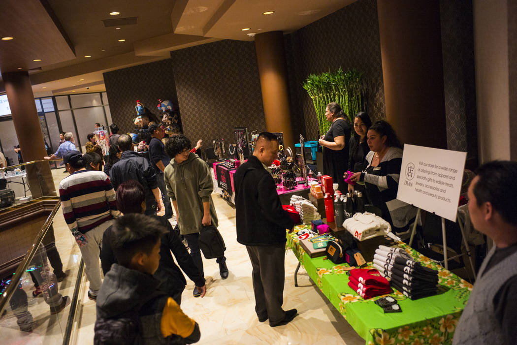 People check out vendors during the 1-year anniversary of the Lucky Dragon in Las Vegas on Sunday, Dec. 3, 2017. Chase Stevens Las Vegas Review-Journal @csstevensphoto