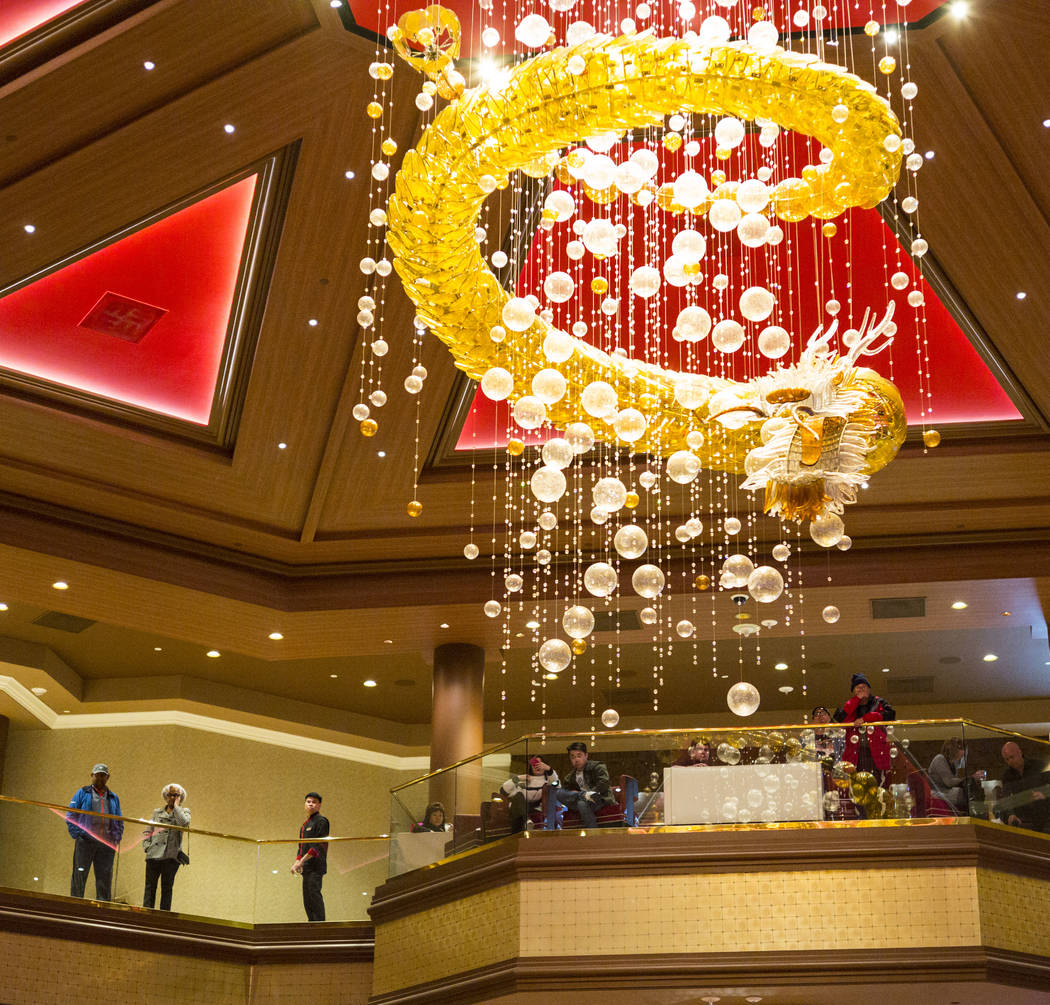 People take in the view from the second floor during the 1-year anniversary of the Lucky Dragon in Las Vegas on Sunday, Dec. 3, 2017. Chase Stevens Las Vegas Review-Journal @csstevensphoto