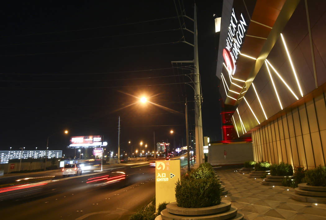 Traffic passes by on Sahara Avenue during the 1-year anniversary of the Lucky Dragon in Las Vegas on Sunday, Dec. 3, 2017. Chase Stevens Las Vegas Review-Journal @csstevensphoto