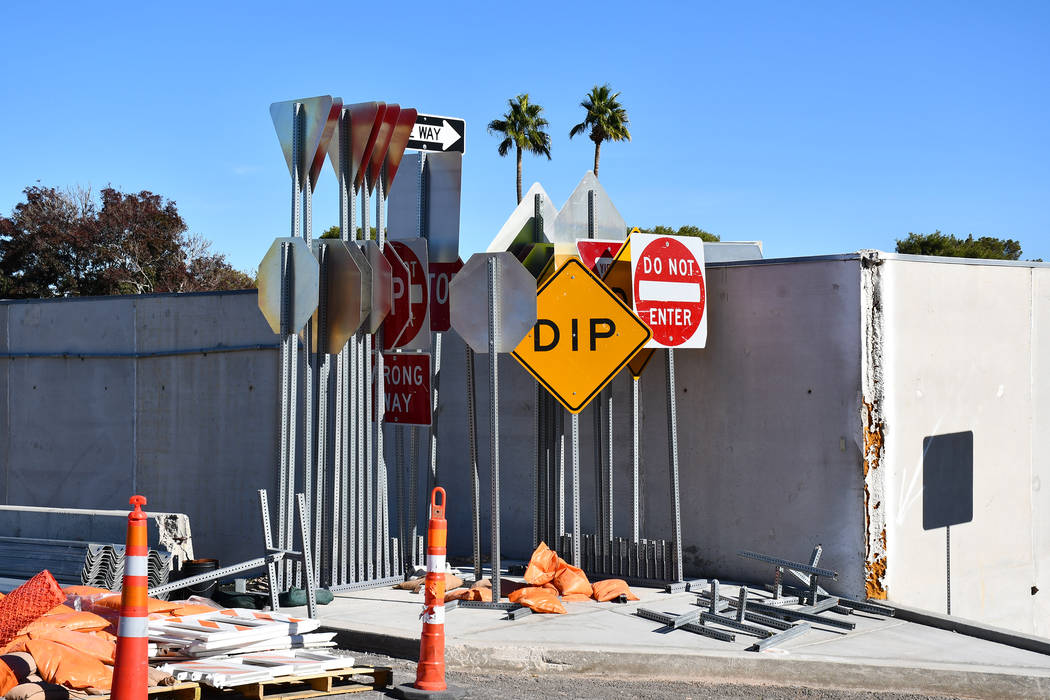 Temporary traffic control signs are used by the Nevada Department of Transportation during road construction and road projects. (Daria Sokolova/View)