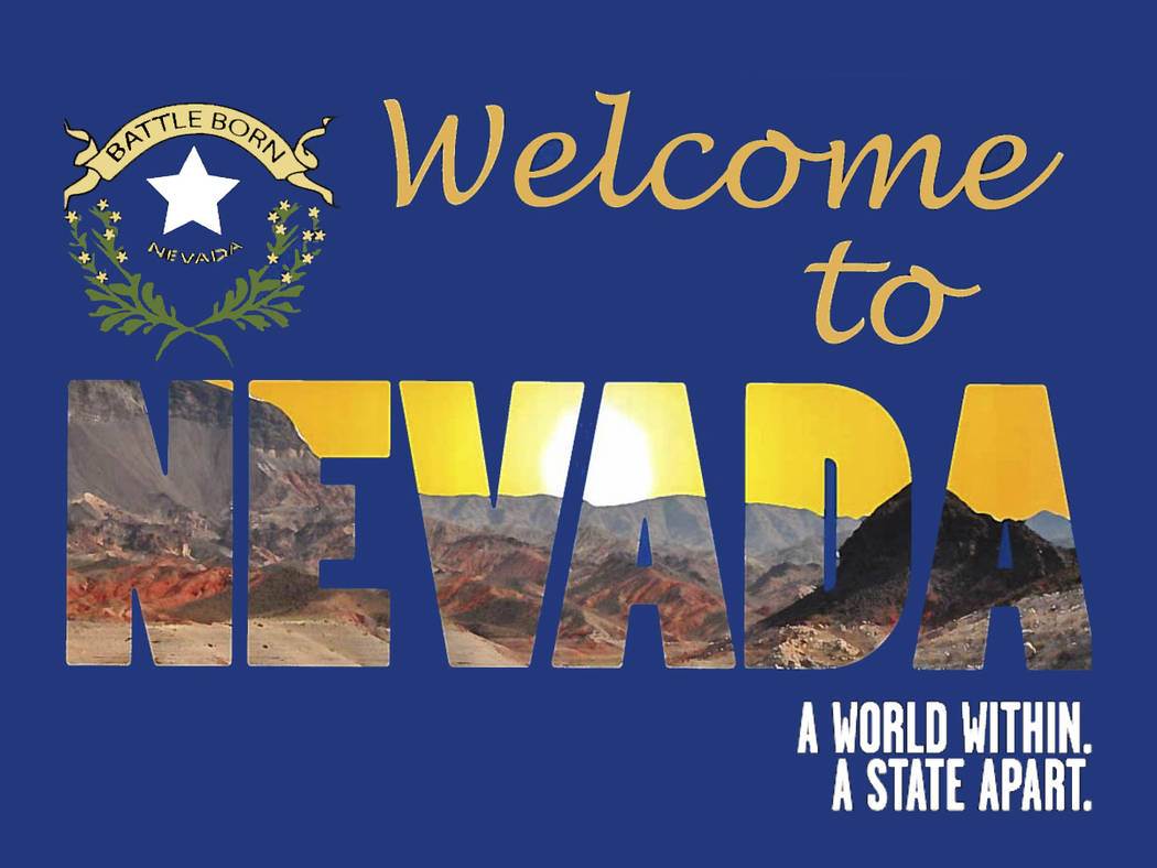 "The new ""Welcome to Nevada"" signs were installed at 25 state border locations. The old signs were replaced by new welcome signs designed by Nevada high school graphic artists through a contest org ..."