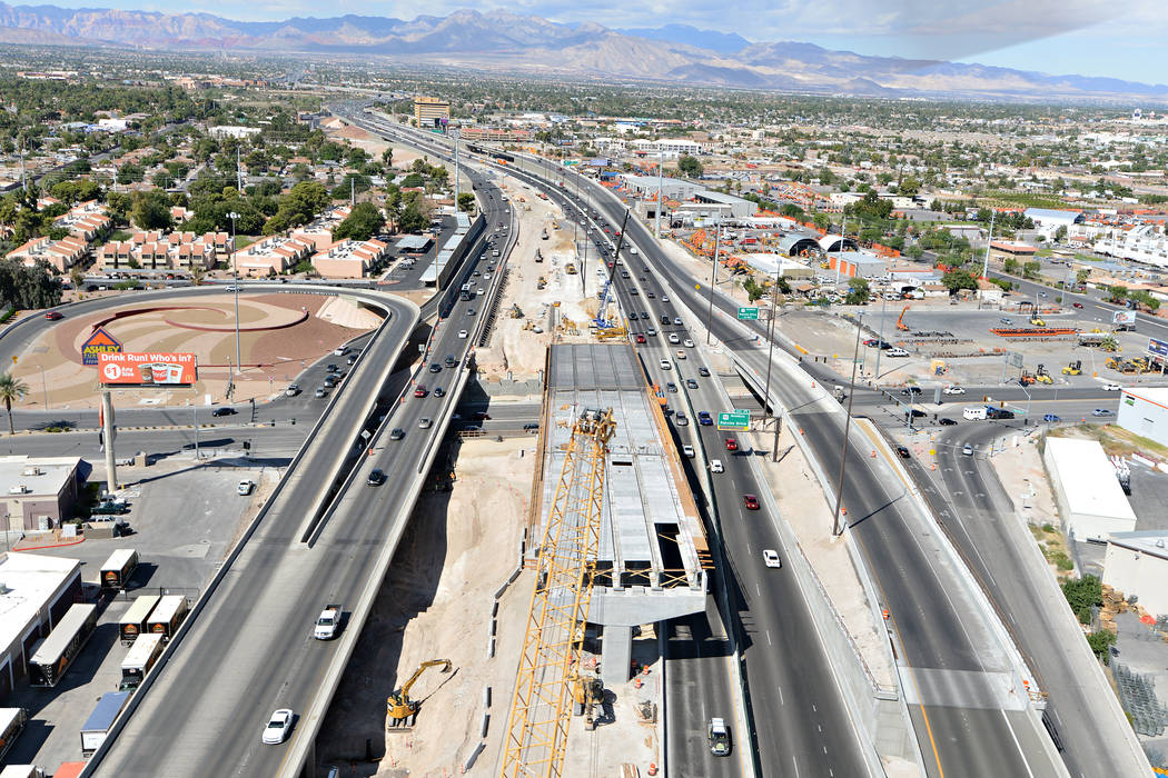 U.S. Highway 95 looking west from above the Spaghetti Bowl toward Rancho Drive in Las Vegas. The project was recently completed as part of the Project Neon in Las Vegas (Kiewit Construction)