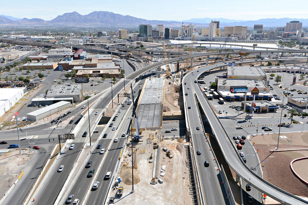 U.S. Highway 95 looking east at Martin Luther Boulevard in Las Vegas. To the right of the bridge is the new alignment of 95 U.S. southbound that was completed by Kiewit Infrastructure West Co., th ...