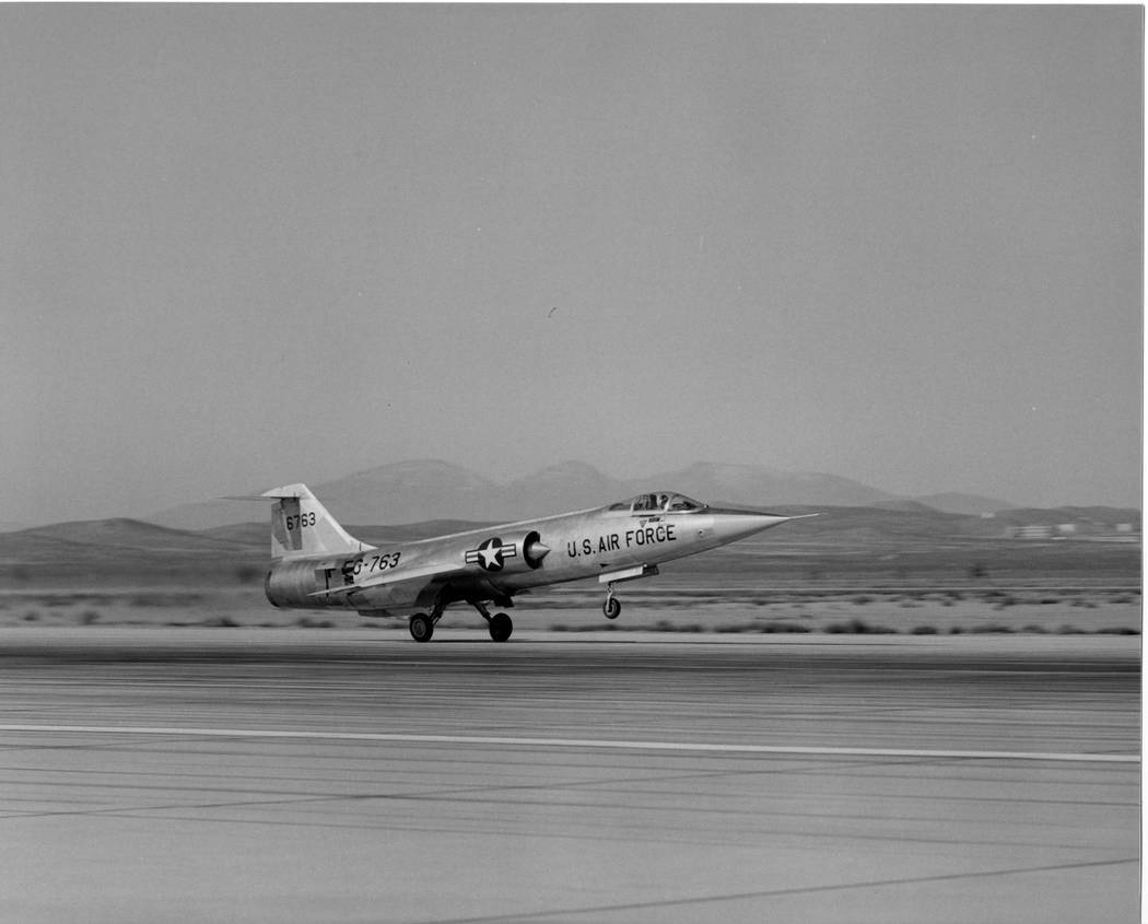Before it was turned into a jet-powered car, the North American Eagle began its life as a F-104 Starfighter, pictured here at Edwards Air Force Base in California during the heyday of test pilots  ...