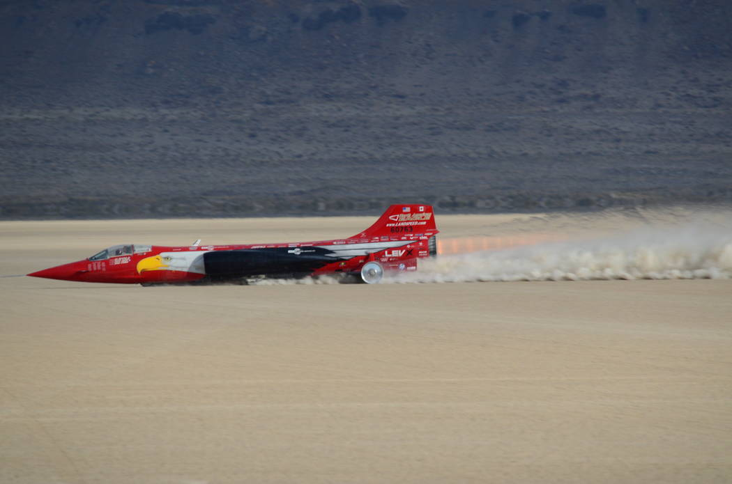 The North American Eagle races across Oregon's Alvord Desert in full afterburner during a test run. (North American Eagle)