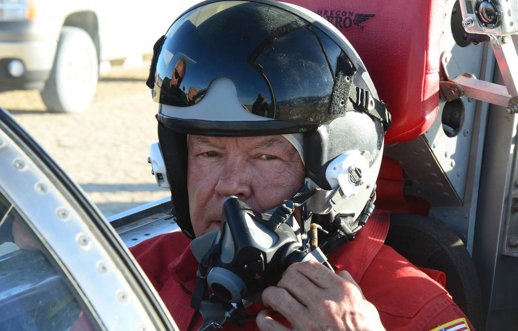 Ed Shadle in the cockpit of the North American Eagle jet-powered car. Next year, Shadle and his team hope to set a new world land-speed record on a dry lake bed in Eureka County. (North American E ...