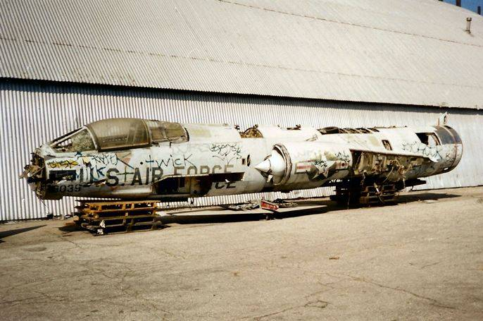 The North American Eagle was a graffiti-covered hulk when the team rescued the old fighter jet from a storage yard in Maine in 1999. (North American Eagle)