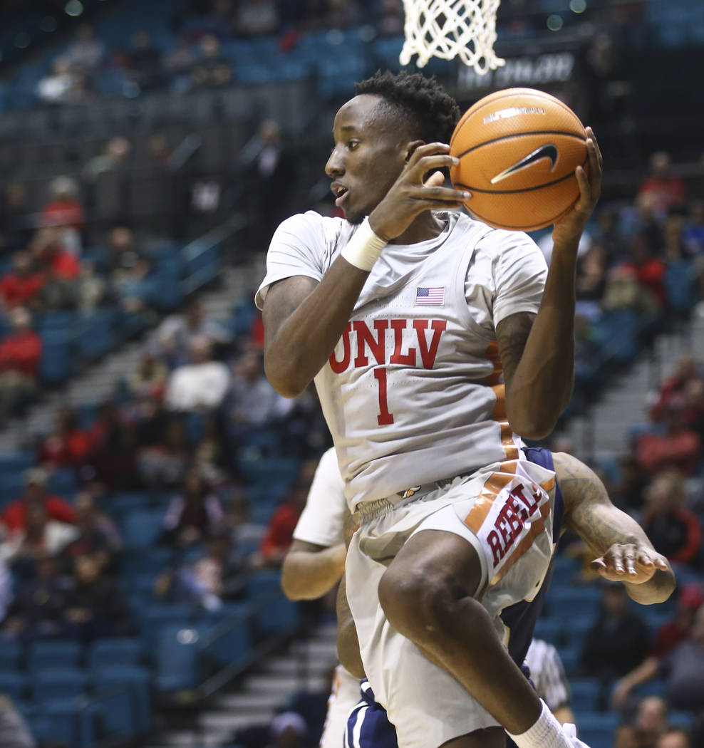 UNLV's Kris Clyburn (1) looks to pass the ball while playing Oral Roberts in a basketball game at the MGM Grand Garden Arena in Las Vegas on Tuesday, Dec. 5, 2017. UNLV won 92-66. Chase Stevens La ...