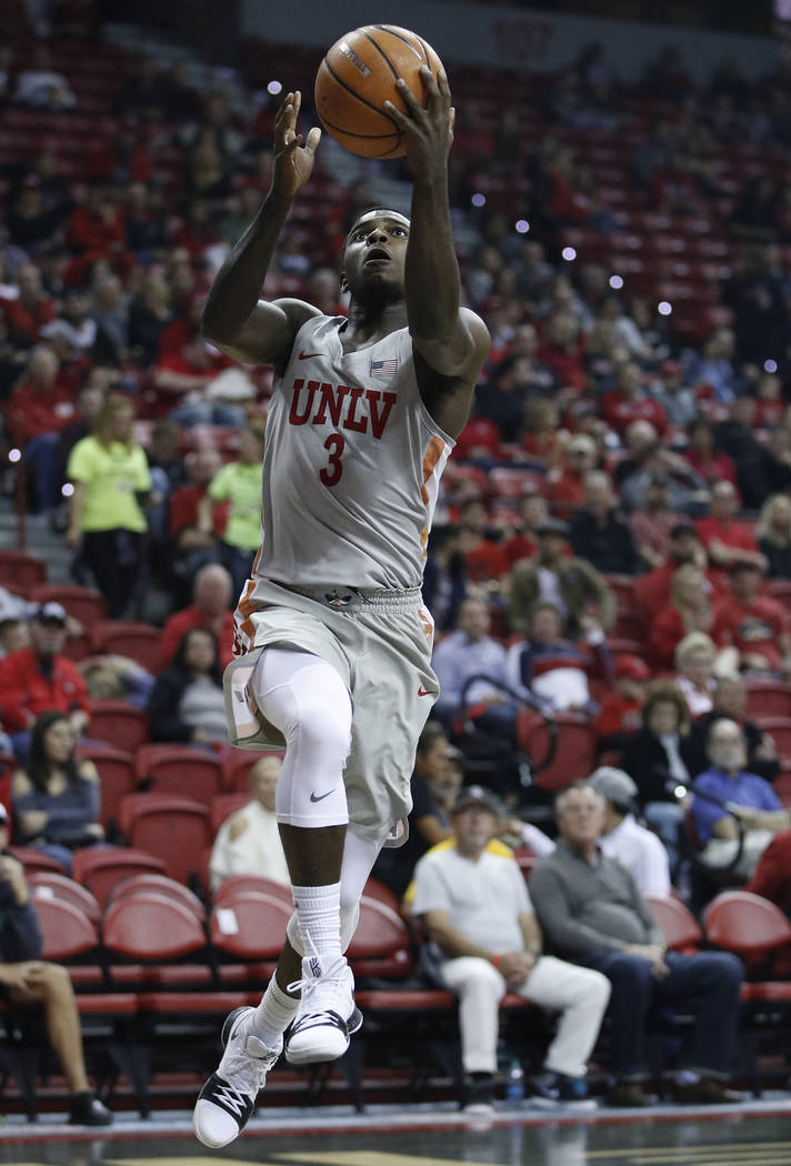 UNLV's Amauri Hardy shoots against Southern Utah during the first half of an NCAA college basketball game Saturday, Nov. 25, 2017, in Las Vegas. (AP Photo/John Locher)