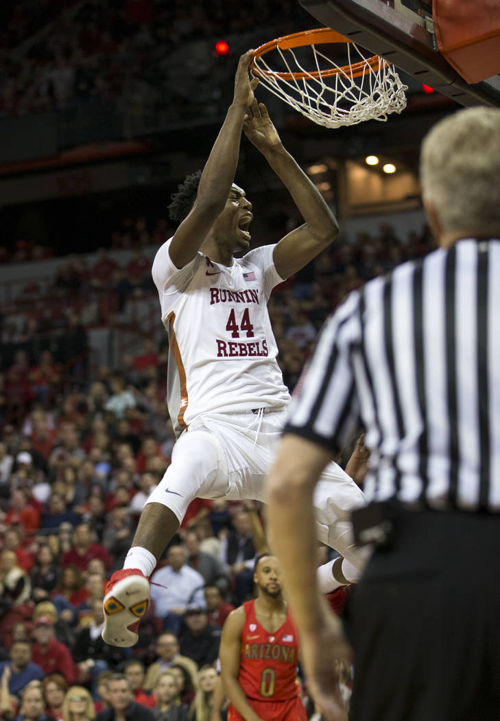 UNLV Rebels forward Brandon McCoy (44) dunks again the Arizona Wildcats during the second half of an NCAA college basketball game at Thomas & Mack Center in Las Vegas on Saturday, Dec. 2, 2017 ...