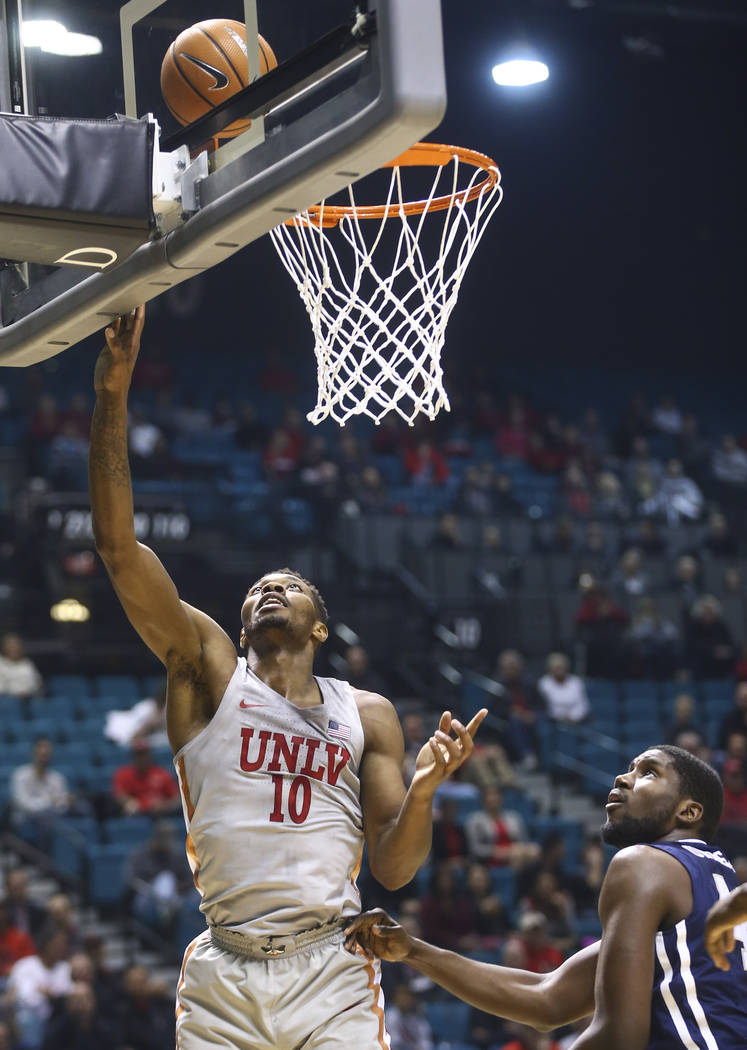 UNLV's Shakur Juiston (10) goes to the basket to score against Oral Roberts during their basketball game at the MGM Grand Garden Arena in Las Vegas on Tuesday, Dec. 5, 2017. Chase Stevens Las Vega ...