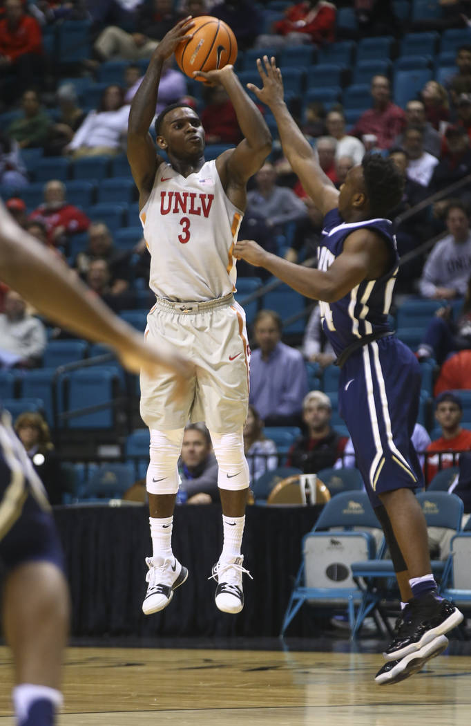 UNLV's Amauri Hardy (3) shoots against Oral Roberts during their basketball game at the MGM Grand Garden Arena in Las Vegas on Tuesday, Dec. 5, 2017. UNLV won 92-66. Chase Stevens Las Vegas Review ...