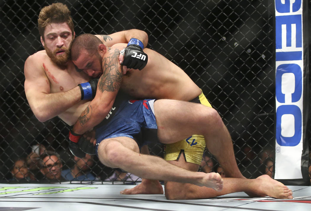 """Eric Spicely, right, takes Gerald Meerschaert to the mat in their middleweight bout during """"The Ultimate Fighter"""" Season 26 Finale card at the Park Theater at Monte Carlo in Las  ..."""