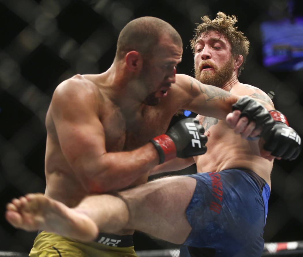 """Eric Spicely, left, takes a kick from Gerald Meerschaert in their middleweight bout during """"The Ultimate Fighter"""" Season 26 Finale card at the Park Theater at Monte Carlo in Las  ..."""