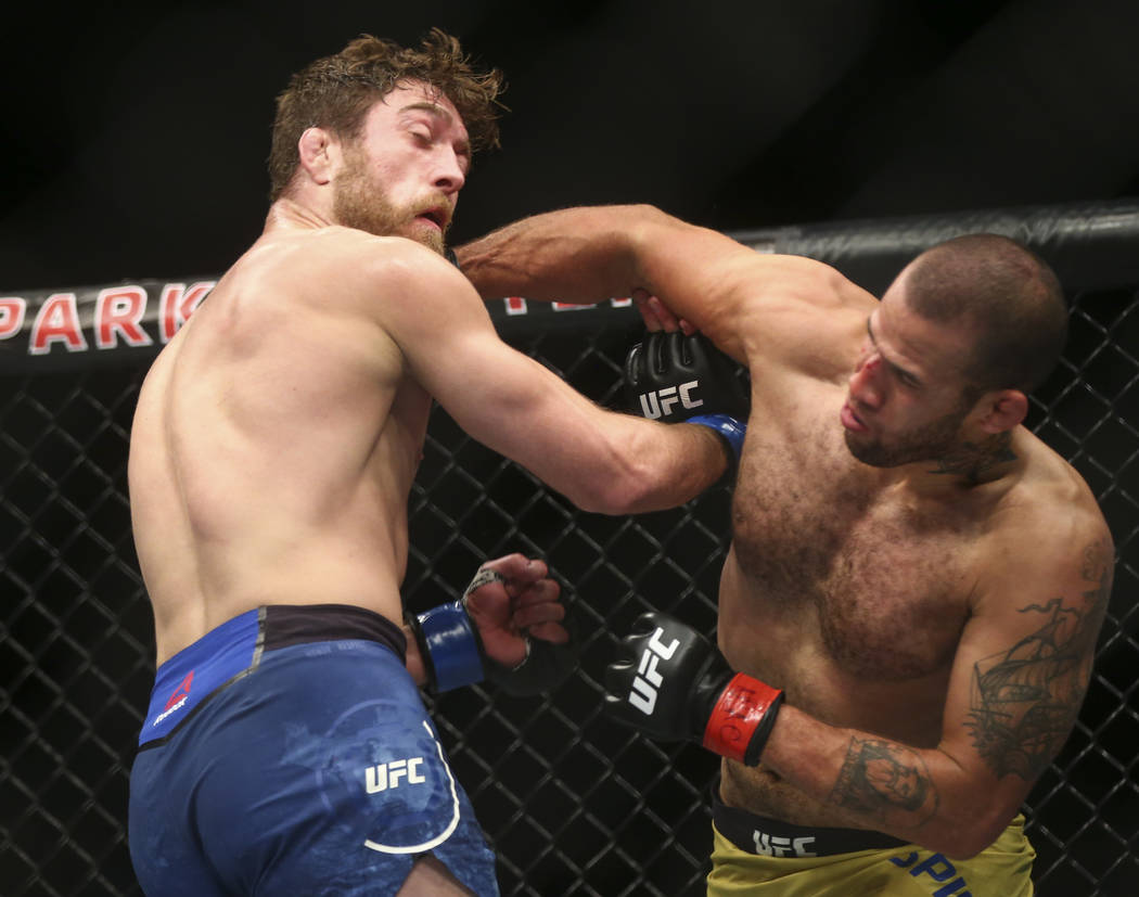 """Gerald Meerschaert, left, takes a punch from Eric Spicely in their middleweight bout during """"The Ultimate Fighter"""" Season 26 Finale card at the Park Theater at Monte Carlo in Las ..."""