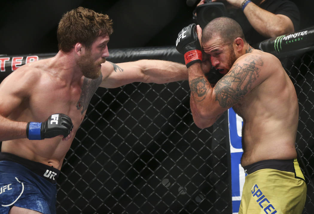 """Gerald Meerschaert, left, hits Eric Spicely in their middleweight bout during """"The Ultimate Fighter"""" Season 26 Finale card at the Park Theater at Monte Carlo in Las Vegas on Frid ..."""