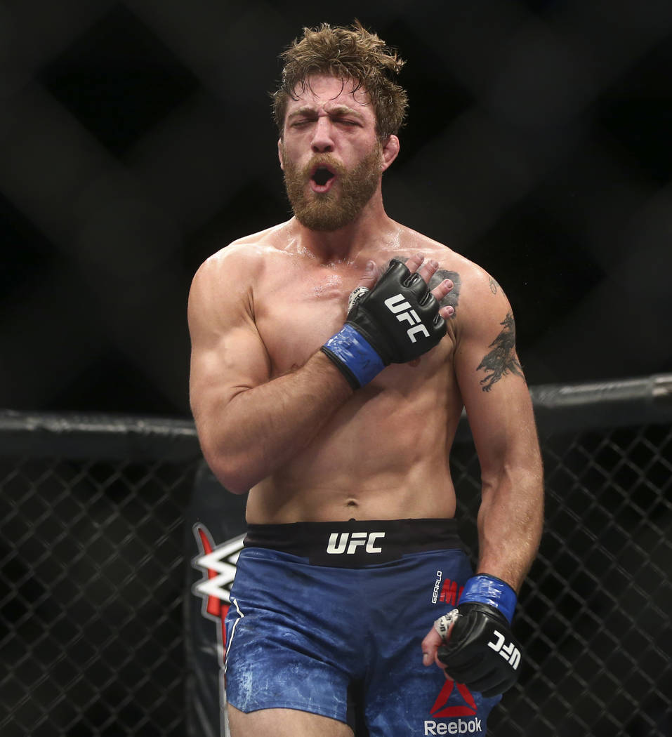 """Gerald Meerschaert celebrates his third round technical knockout over Eric Spicely in their middleweight bout in """"The Ultimate Fighter"""" Season 26 Finale card at the Park Theater  ..."""
