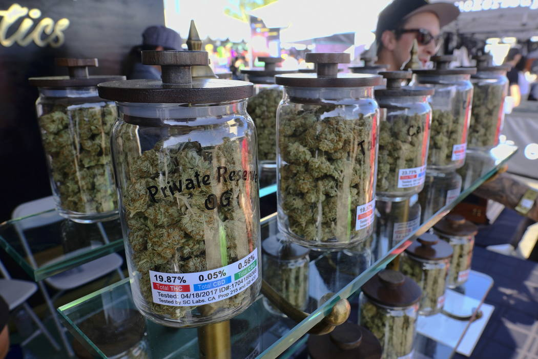 Large jars of marijuana are on display for sale at the Cali Gold Genetics booth during the High Times Cannabis Cup in San Bernardino, Calif., in April.  (AP Photo/Richard Vogel,File)
