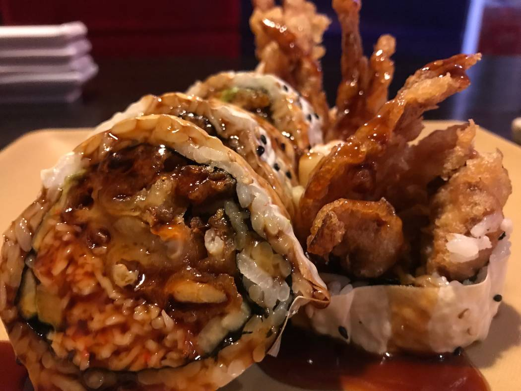 A spider roll is served on Nov. 28, 2017 at Sushi Loca, 6181 Centennial Center Blvd. (Kailyn Brown/View)