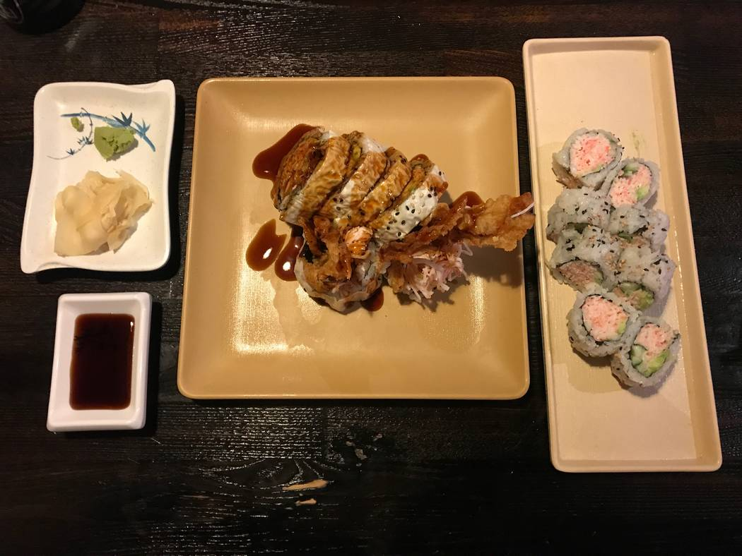 A spider roll and California roll are displayed on Nov. 28, 2017 at Sushi Loca, 6181 Centennial Center Blvd. (Kailyn Brown/View)