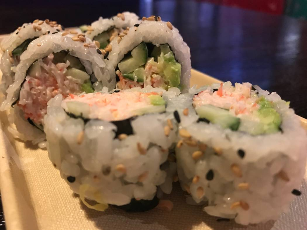 A California roll is served on Nov. 28, 2017 at Sushi Loca, 6181 Centennial Center Blvd. (Kailyn Brown/View)