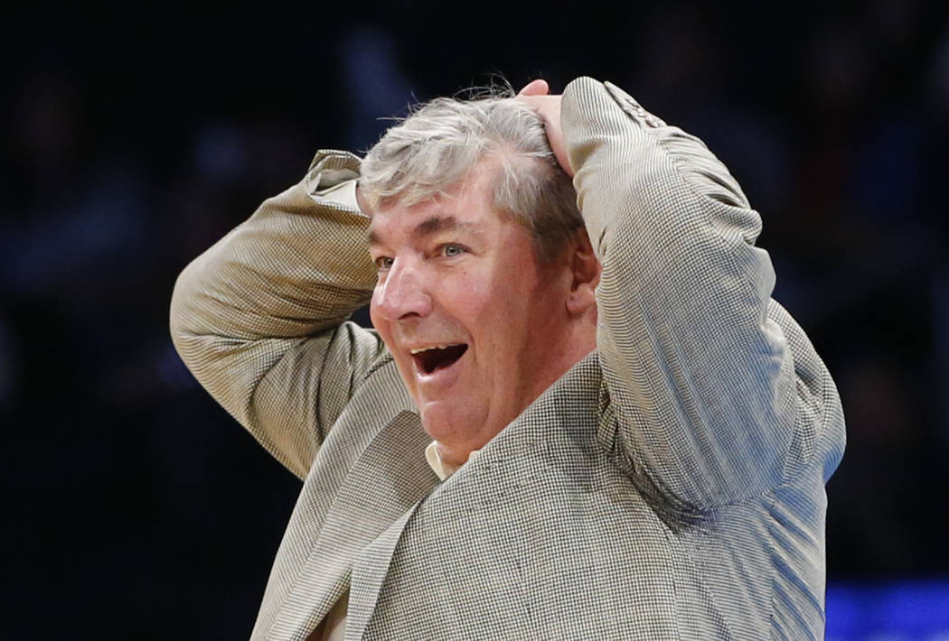 FILE- In this Wednesday, June 7, 2017, file photo, New York Liberty head coach Bill Laimbeer reacts to a referee's call in the second half of an WNBA basketball game against the Atlanta Dream in N ...