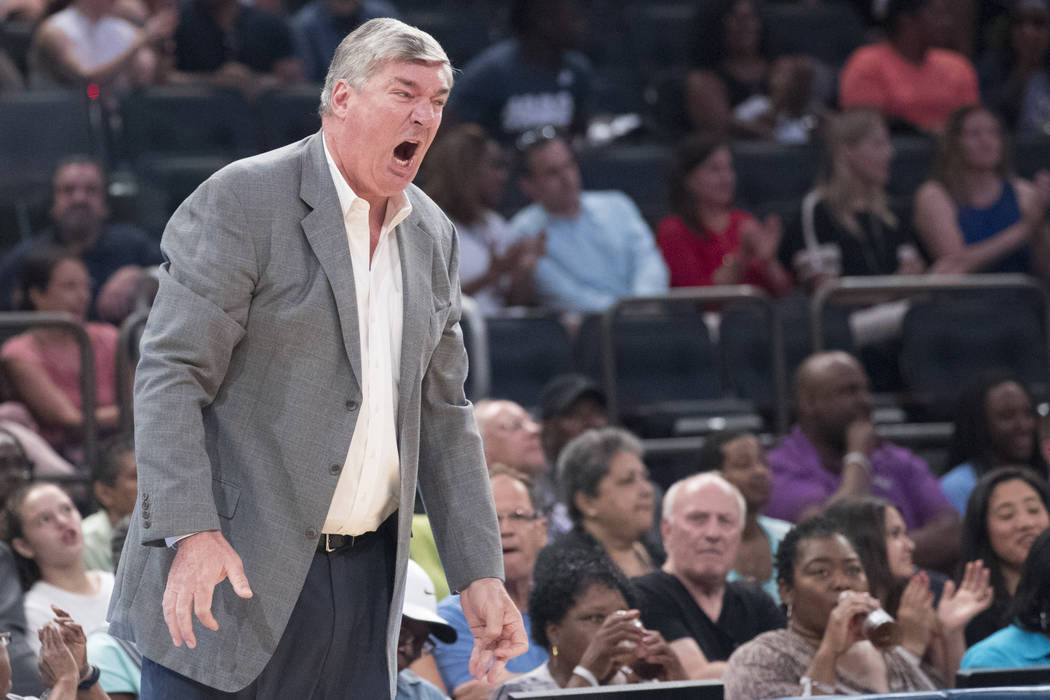 New York Liberty head coach Bill Laimbeer reacts during the first half of a WNBA basketball game against the Connecticut Sun, Wednesday, July 19, 2017 at Madison Square Garden in New York. The Lib ...