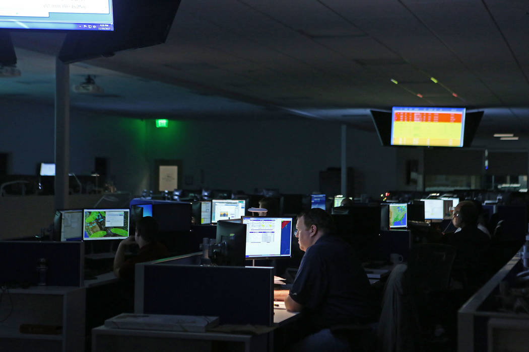 People work in the newly constructed operations control center at Allegiant Air headquarters in Las Vegas, Thursday, Nov. 30, 2017. Bridget Bennett Las Vegas Review-Journal