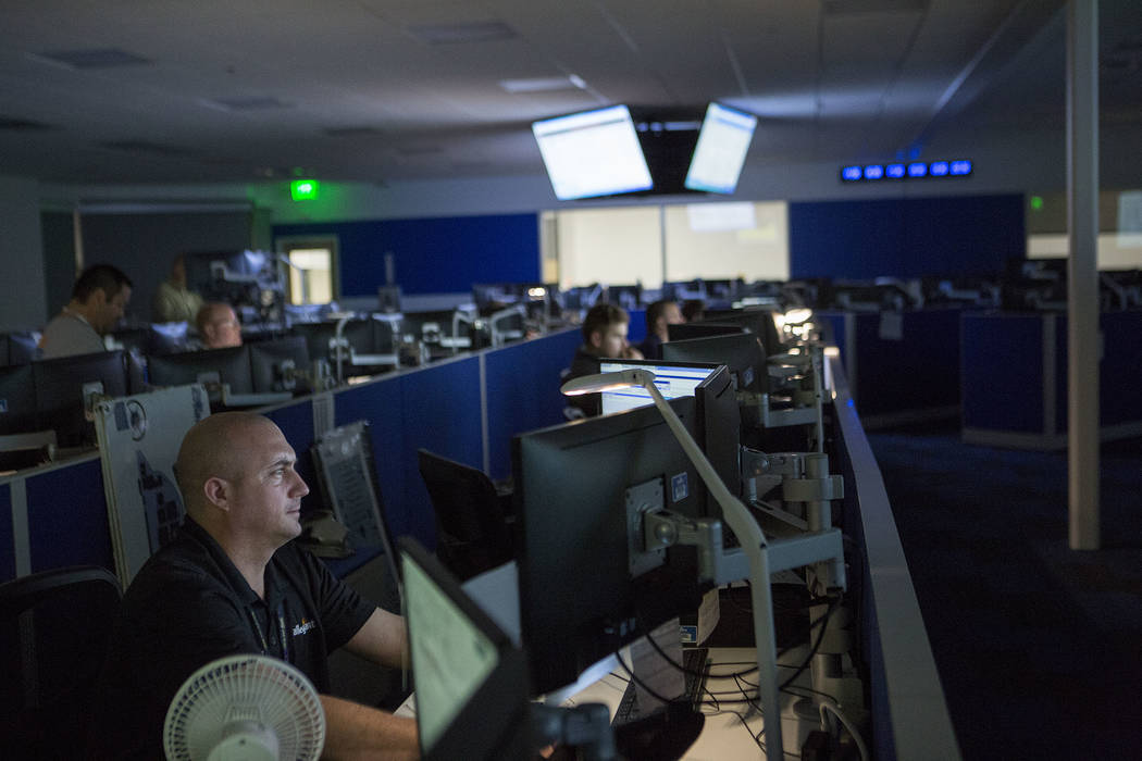 Eric Jones works in the newly constructed operations control center at Allegiant Air headquarters in Las Vegas, Thursday, Nov. 30, 2017. Bridget Bennett Las Vegas Review-Journal