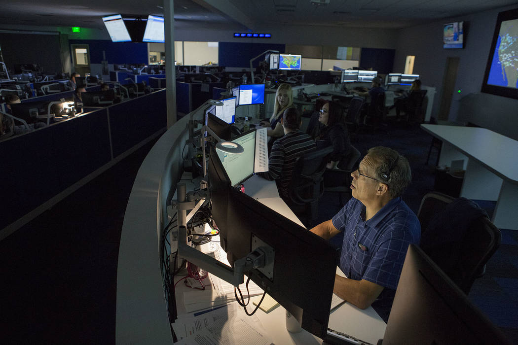 John Bade works in the newly constructed operations control center at Allegiant Air headquarters in Las Vegas, Thursday, Nov. 30, 2017. Bridget Bennett Las Vegas Review-Journal