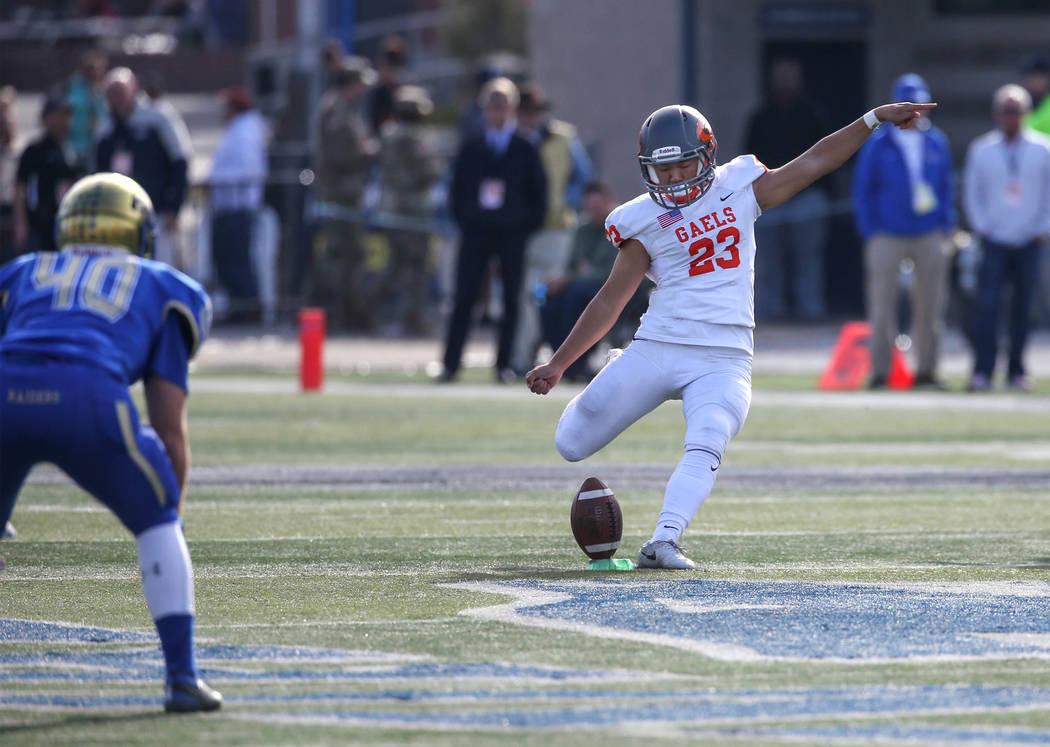 Bishop Gorman kicker Derek Ng competes in the NIAA 4A state championship football game in Reno on Saturday, Dec. 2, 2017. Cathleen Allison Las Vegas Review Journal @NVMomentum
