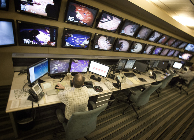 Video screens in the surveillance monitor room as seen  Monday, June 30, 2014 at Aria Hotel & Casino, 3730 S. Las Vegas Boulevard.  (Las Vegas Review-Journal)