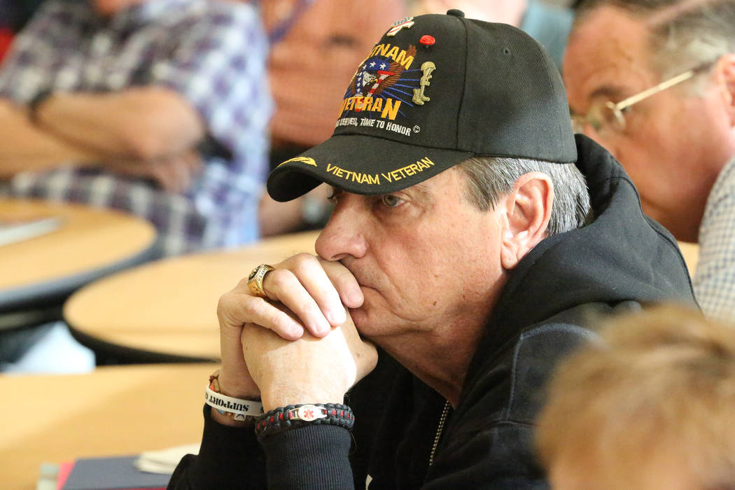 Vietnam Veteran Michael Cavaretta, 71, listens to a discussion during a 'Veterans Coffee and Conversations' gathering at Vegas PBS on Friday, Nov. 17, 2017. Michael Quine/Las Vegas R ...