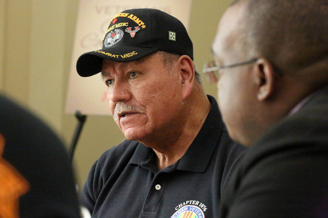 Disabled American Veterans Honor Guard Commander and Vietnam Veteran Ramiro Parocua helps answer questions during a 'Veterans Coffee and Conversations' gathering at Vegas PBS on Frid ...