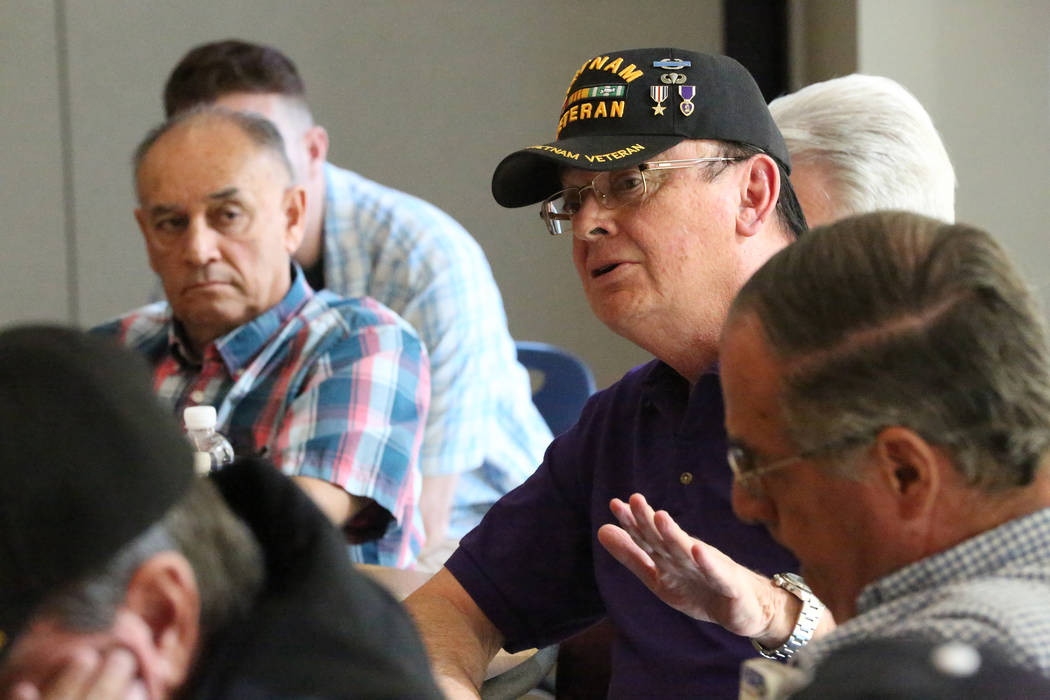 Vietnam Veteran Craig H. Mandaville, center, shares some thoughts on the Ken Burns Vietnam documentary during a 'Veterans Coffee and Conversations' gathering at Vegas PBS on Friday,  ...