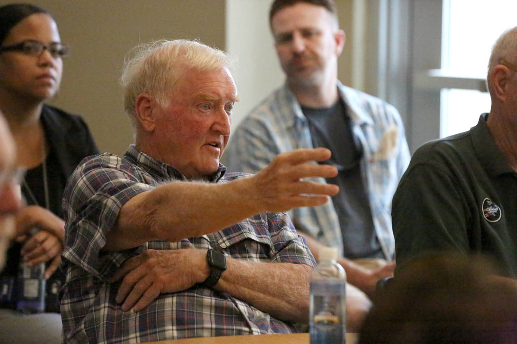 Vietnam Veteran Dave Jones, center, discusses issues faced by Vietnam Veterans during a 'Veterans Coffee and Conversations' gathering at Vegas PBS on Friday, Nov. 17, 2017. Michael Q ...