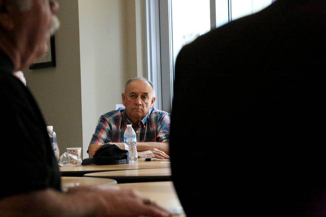 Vietnam Veteran Phil Blanco, 74, center, listens to discussions during a 'Veterans Coffee and Conversations' gathering at Vegas PBS on Friday, Nov. 17, 2017. Michael Quine/Las Vegas  ...