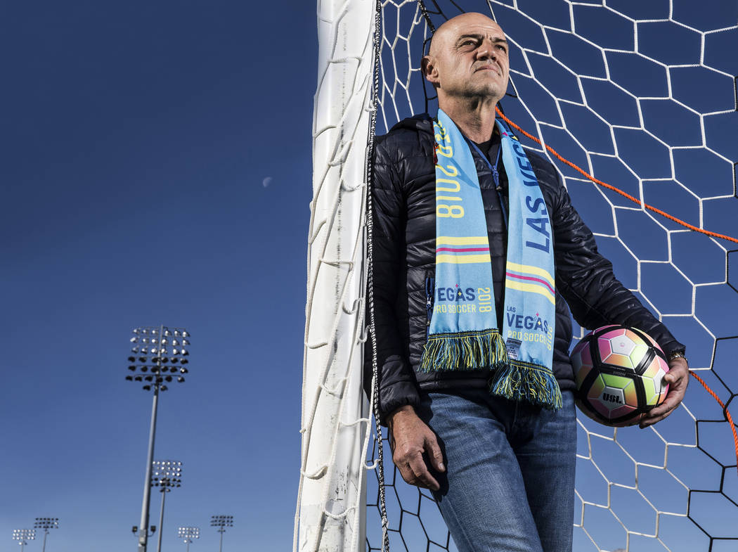 Las Vegas Lights FC coach José Luis Sanchez Solá, commonly known as Chelís,  during the expansion United Soccer League team's first-ever player combine on Saturday, Dec. 9, 2017, at ...