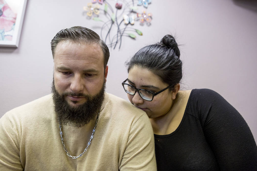 William King, left, and Kimberly Calderon, wait to see their family physician for a check up on King's bullet wound that is causing discomfort, in Las Vegas, Thursday, Nov. 30, 2017. Elizabeth Bru ...
