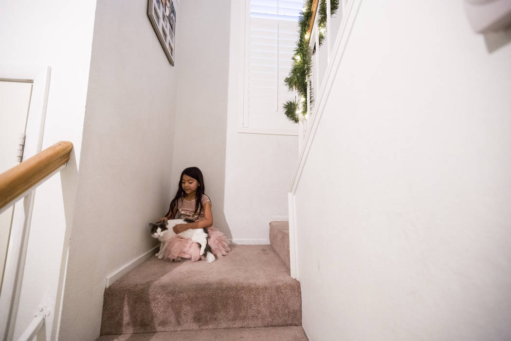 Velonee Calderon, 8, sings quietly to her cat Gato in their Las Vegas home Wednesday, Dec. 6, 2017. Elizabeth Brumley Las Vegas Review-Journal  @EliPagePhoto