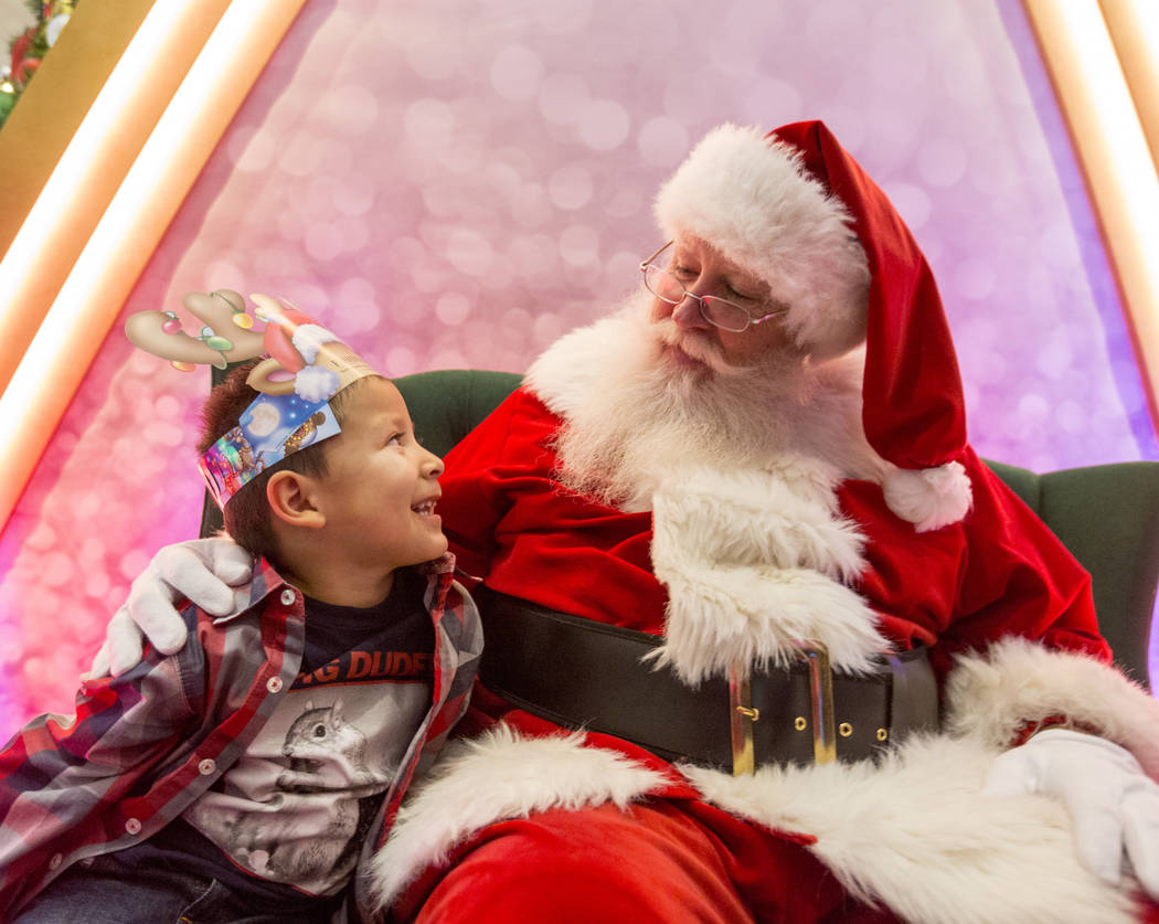 Maximus Calderon, 6, shares his wish list with Santa at the Fashion Show mall in Las Vegas, Wednesday, Dec. 6, 2017. Elizabeth Brumley Las Vegas Review-Journal  @EliPagePhoto