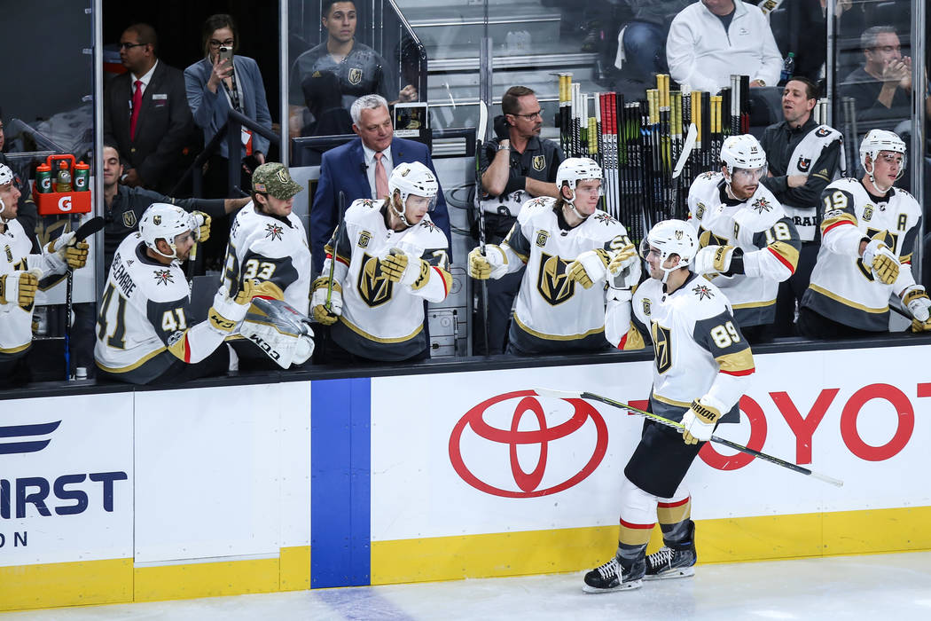 Vegas Golden Knights Alex Such (89) celebrates after scoring on Arizona Coyotes goalie Scott Wedgewood (31) during the second period of a hockey game at T-Mobile Arena in Las Vegas, Sunday, Dec. 3 ...