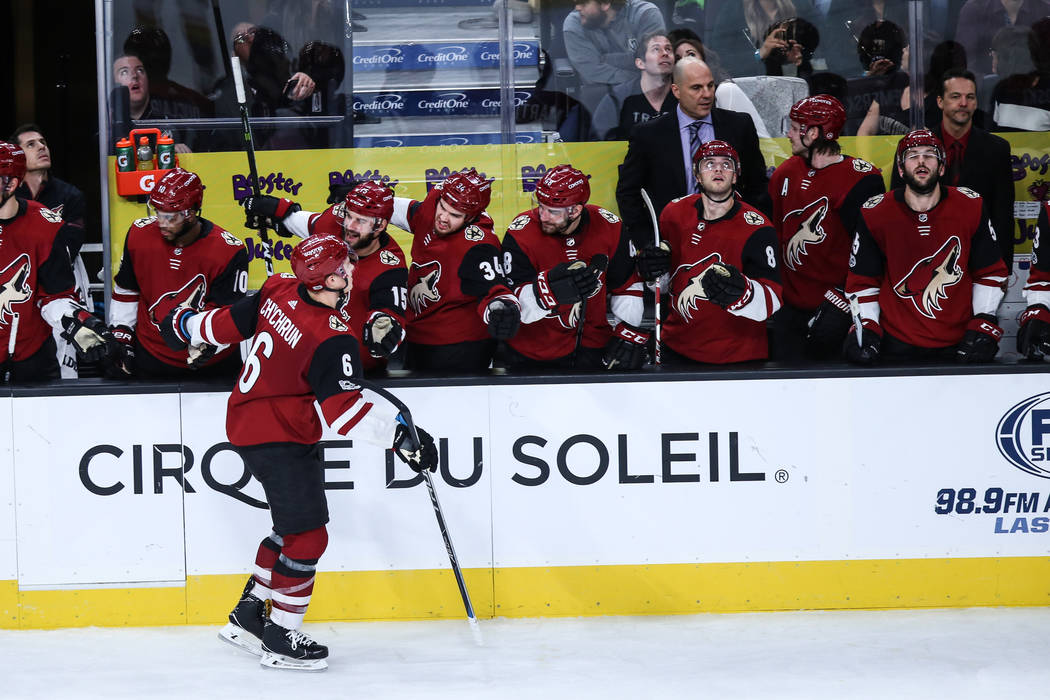 Arizona Coyotes defenseman Jakob Chychrun (6) celebrates with teammates after scoring against the Vegas Golden Knights during the second period of a hockey game at T-Mobile Arena in Las Vegas, Sun ...