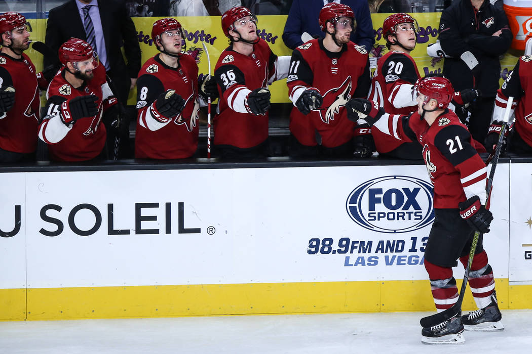 Arizona Coyotes center Derek Stepan (21) celebrates after scoring against the Vegas Golden Knights during the third period of a hockey game at T-Mobile Arena in Las Vegas, Sunday, Dec. 3, 2017. Ve ...