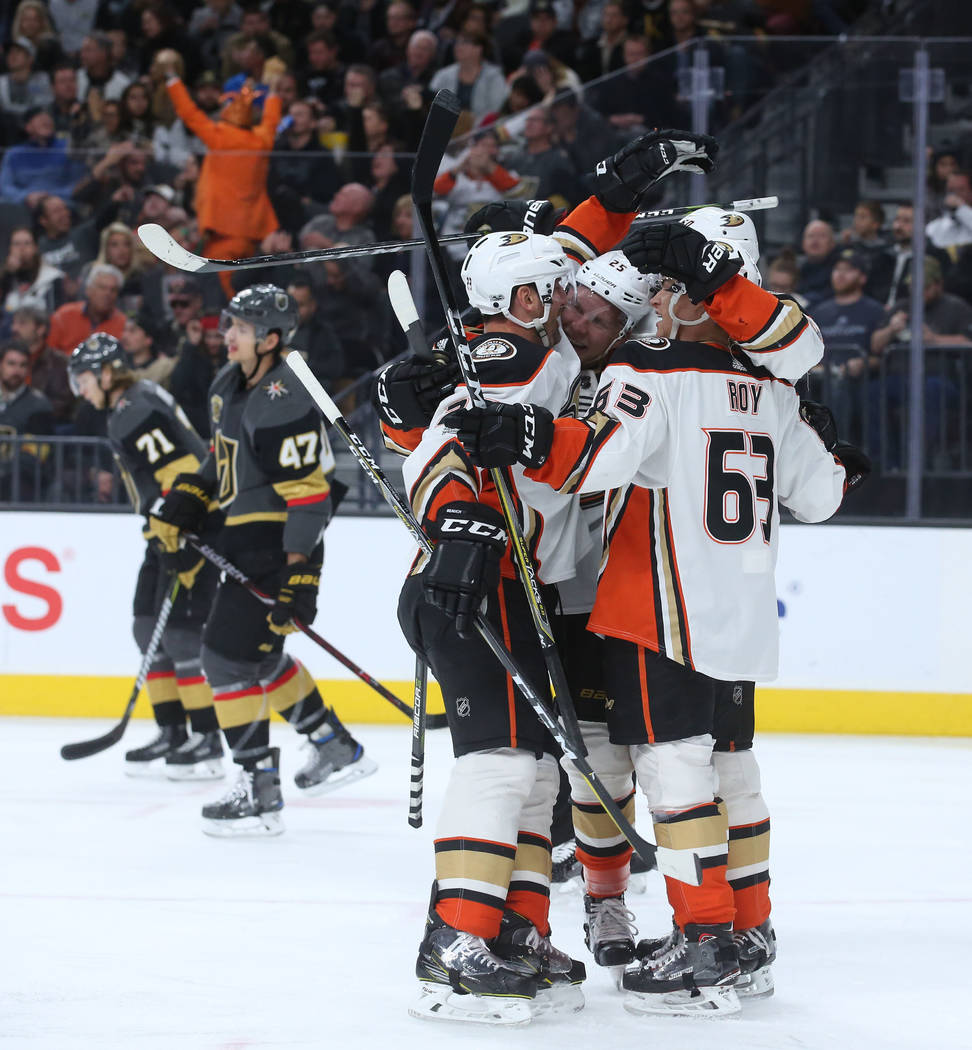 Anaheim Ducks players celebrate after a goal made on Vegas Golden Knights goalie Malcolm Subban (30) during the second period at T-Mobile Arena in Las Vegas, Tuesday, Dec. 5, 2017. Bridget Bennett ...