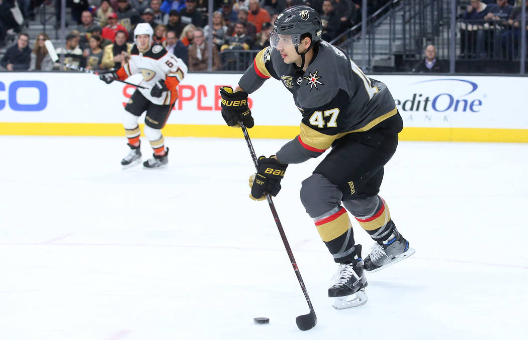 Vegas Golden Knights defenseman Luca Sbisa (47) passes the puck during the second period of the game against Anaheim Ducks at T-Mobile Arena in Las Vegas, Tuesday, Dec. 5, 2017. Bridget Bennett La ...